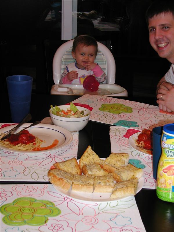 Molly and daddy enjoying dinner