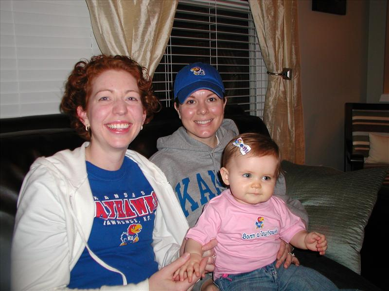 The girls cheering for KU