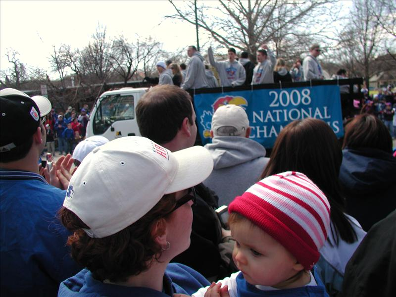 Molly at the parade celebrating KU's National Championship