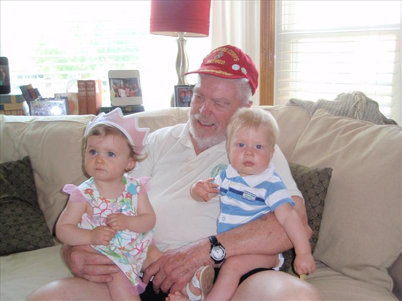Molly with Paxton and Great Grandpa
