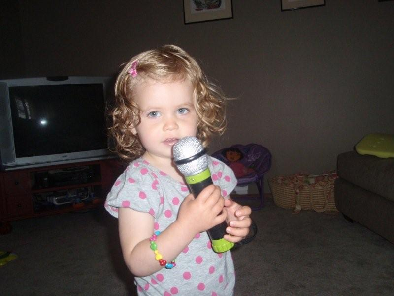 "Molly practicing Karaoke to ""Elmo's Song"""