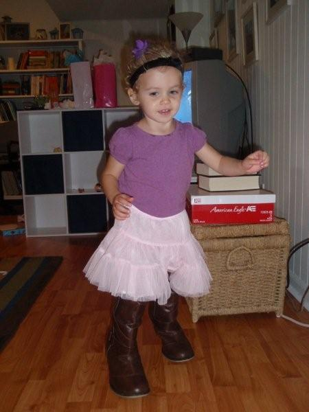Mom's boots go great with my new tutu