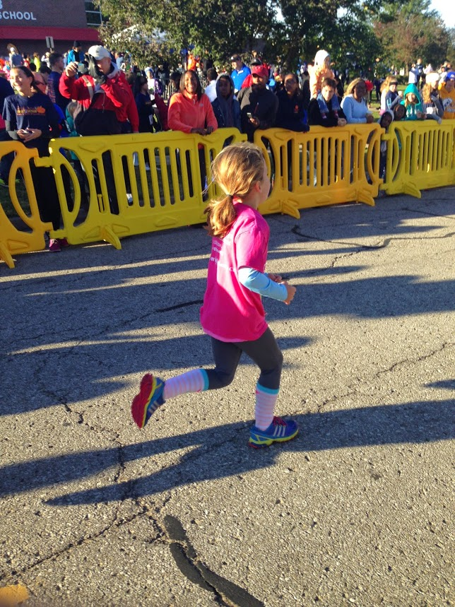 Molly finishing the Jared Coones Pumpkin Run!